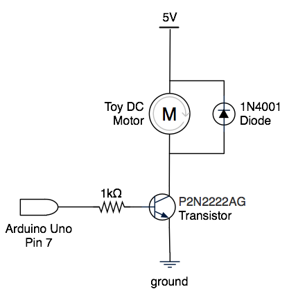 Typical toy DC motor circuit with Arduino